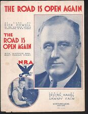 The Road Is Open Again 1933 Dick Powell Franklin Delano Roosevelt Sheet Music