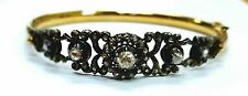 Old Antique Vintage Rose Cut Diamond 14K Yellow Gold Bangle,Victorian Jewelry