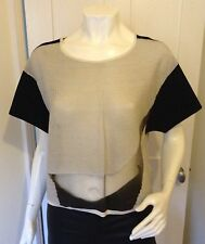Helmut Lang Black & Beige Cotton Knit S/Sleeve Box Top With Organza Insert