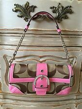 NEW!! Authentic Coach Signature Snake Flap Pink Rhinestone Buckle Handbag Purse