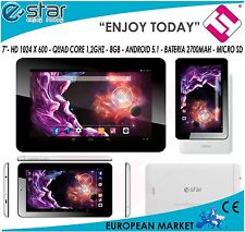 "TABLET E-STAR 1.2 GHZ QUADCORE 7"" BLANCA BEAUTY 1GB RAM ANDROID 5.1 MARCA EUROPA"