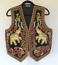 VINTAGE 1960s 70s THAILAND ETHNIC VEST COTTON SEQUINS BEADS SOUTACHE ELEPHANTS