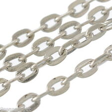 5M Silver Tone Flat Cable Chains Findings 3x4mm