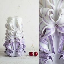 Big White and Purple - Gentle colors - Decorative carved candle - EveCandles