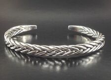 STYLISH WHEAT CHAIN LINK STERLING SILVER 925 MENS JEWELRY OPEN CUFF BRACELET