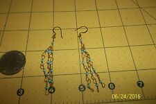 LONG Handmade Turquoise bead Chandelier Dangle Seed Bead Earring A37