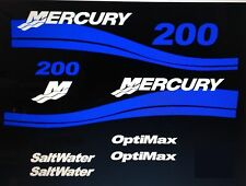 Mercury Saltwater Optimax Outboard MARINE VINYL decal Kit 150hp -200 - 225hp 250