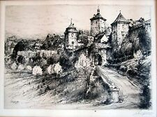 """Old Rothenburg"" etching by Paul Geissler"