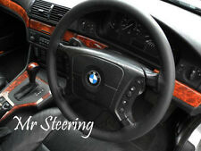 FITS 1995-2004 BMW 5-SERIES E39 REAL BLACK ITALIAN LEATHER STEERING WHEEL COVER