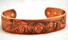 MENS 100% COPPER 6.5 INCH MAGNETIC THERAPY BANGLE / CUFF: Mohawk Trail; 4 Pain!