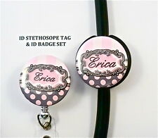 TWICE AS NICE ID STETHOSCOPE tag & ID badge reel SET, NURSE,DOCTOR,MEDICAL,RN,