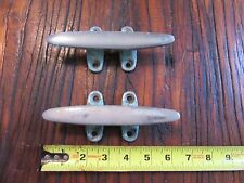"Vintage Chrome on Bronze Mooring Cleats  5-3/4""   QTY (2)"