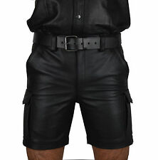 awanstar Real Leather Cargo Shorts,Trousers,Color Black Combat leather Shorts