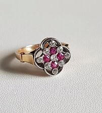 Antique French Edwardian 18k Yellow Gold & Platinum Diamonds Ruby Calibre Ring