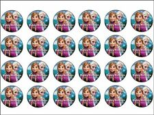 DISNEY'S FROZEN Personalised Cupcake Toppers X 24 Edible Photo Icing Sheet Of 24