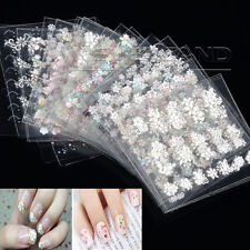 50 X Sheets 3D Design Nail Art Transfer Sticker Tips Decal Flower Manicure DIY