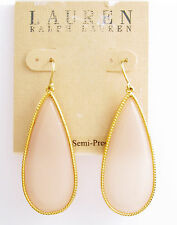 LAUREN Ralph Lauren Pink Gemstone Large Teardrop Gold-Tone Earrings