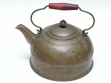 ANTIQUE ENGLISH COPPER KETTLE w/ WOOD HANDLE   * BEAUTIFUL PATINA