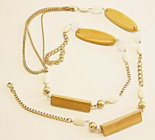 70S - 80S RETRO NECKLACE OR BELT HIPS, WAIST BELLY CHAIN LARGE LUCITE WOOD METAL