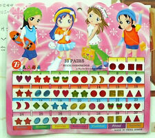 FD553 Kid Girl Crystal Stick Earring Sticker Toy Body Bag Party Jewellry 60pcs:)