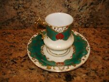 Vintage Demitasse Cup and Saucer Hand Painted Green Red Gold Japan