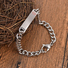 Medical ID Emergency Alert Cuff Bracelet Chain Bangle Mens Adjustable Jewellery