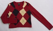 Abercrombie Women's Lambs Wool Blend L/S V-Neck Red Argyle Sweater - Large