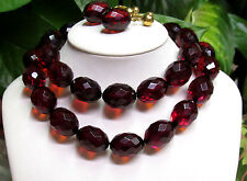 Vintage 12K Gold Cherry Amber Bakelite Beaded Necklace & Earring Set - 110 grams