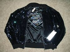 NWT Victoria Secret Pink Fashion Show Black Sequin Bling Bomber Jacket S NEW
