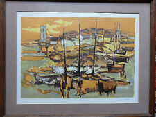 ELIANE THIOLLIER 1926-1989 ORIGINAL PENCIL SIGNED & NO'D PRINT 'MOORED YACHTS'