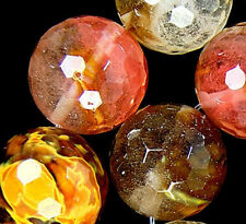 16mm Faceted Colorful Volcano Cherry Quartz Beads 15.5""