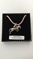A29 Showjumper Motif Pewter  PENDENT ON A PINK CORD Necklace Handmade