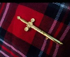 Celtic Sword Kilt Pin Gold Plated/Scottish Kilt Pin Celtic Knot work Pattren