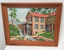Vintage Paint By Number Painting Old Mill Water Brick Scenery Pond PBN Framed