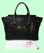 COACH 34649 SWAGGER CARRYALL in Black Pebble Leather Satchel Bag Msrp $695.00