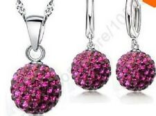SILVER SHAMBALLA CRYSTAL, DISCO BALL NECKLACE HUGGIE HOOP EARRINGS SET