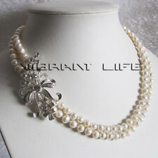 "18-19"" 6-7mm 2Row White Freshwater Pearl Necklace BS U"