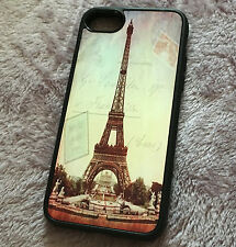 for iPhone 7 - Hard TPU Gummy Rubber Skin Case Cover Paris Eiffel Tower Sunset