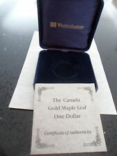 EMPTY BOX AND CERTIFICATE  FOR CANADIAN GOLD MAPLE LEAF DOLLAR GOOD CONDITION