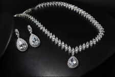 18k White Gold Rhodium Necklace Earrings Set made w/ Swarovski Crystal Clear