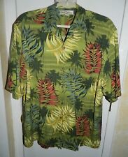 Mens Tommy Bahama Hawaiian Short Sleeve Button Green Fern Palm Tree Shirt Size L