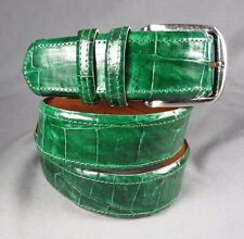 "Genuine Green Alligator-Crocodile skin Waist 35-36 Belt Size 37-38 x 1.5"" width"