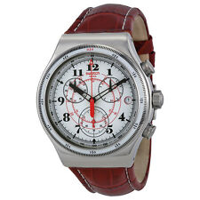 Swatch Back To The Roots Chronograph White Dial Brown Leather Mens Watch YVS414