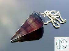 Multi Fluorite Gemstone Point Pendulum Dowsing Crystal Dowser Chakra Healing