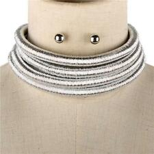 "14.50"" silver 4 layer coil choker collar metallic necklace multi strand balmain"