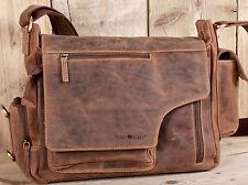 GREENBURRY Schultertasche Leder Vintage Damen Herren Messengerbag Umhängetasche