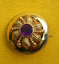 ANCIENNE BROCHE PLAQUé OR & AMETHYSTE OLD FRENCH GOLD PLATED  BROOCH