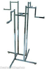 HEAVY DUTY 4 WAY ALL STEP CLOTHES RAIL SHOP DISPLAY GARMENT RACK FLOOR STAND