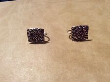 VINTAGE STERLING SILVER CONTESSINA TOWLE 1965 FLOWER SCREW EARRINGS F18 G