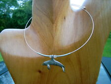 NEW CHOKER  NECKLACE  ORCA / KILLER WHALE TITANIUM CHARM ONE SIZE FITS ALL